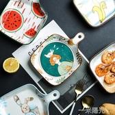 舍里 創意可愛網紅烤箱烘焙烤盤陶瓷家用帶手柄西餐ins餐具菜盤子  聖誕節免運