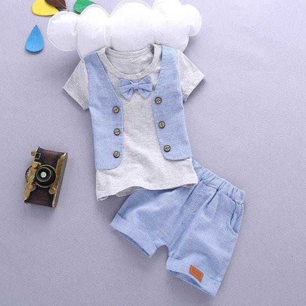 男童套裝新款正韓假馬甲短袖寶寶嬰兒童衣服兩件套潮【快速出貨中秋節八折】