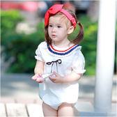 公主袖包屁衣 前綁帶 海軍領 爬服 女寶寶 哈衣 Augelute baby 61186
