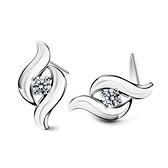 耳環 925純銀 鑲鑽-簡約時尚生日情人節禮物女飾品2色73dz48[時尚巴黎]