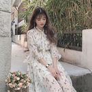 溫柔風少女初戀裙免運夏季新款韓國V領喇叭...