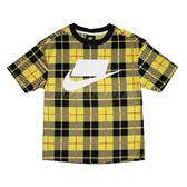 Nike 短袖T恤 NSW Printed Tee 黃 黑 女款 印花 格紋 短T 【PUMP306】 CJ7667-703