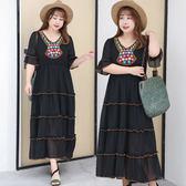 中大尺碼~波西米亞風短袖連衣裙(XL~4XL)