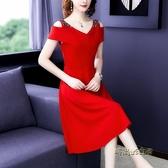 2020夏季新款法式氣質修身顯瘦A字35一45女裝秋款連衣裙子冷淡風「時尚彩紅屋」