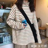 條紋打底衫 高領打底衫女秋冬2021年新款韓版寬鬆內搭長袖T恤女條紋上衣潮ins 歐歐