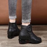 軟牛皮真皮短靴女馬丁靴春秋單靴冬季女靴子中年女鞋棉靴女媽媽鞋     時尚教主