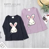紫芋色 純棉 毛線繡可愛兔子俏皮上衣 長袖 薄款 韓版 長T 女上衣 女童裝 秋冬長袖