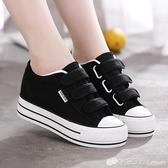 秋季新款厚底內增高帆布鞋女鞋魔術貼百搭學生鞋黑色小白鞋子 檸檬衣舎