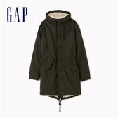 Gap男裝簡約純色長款連帽外套500364-暗森木色