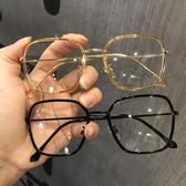 復古網紅圓臉黑框平光鏡個性大方框網紅同款素顏顯瘦近視眼鏡框女