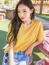 2019夏新款韓版寬鬆V領ins潮學生薄款上衣百搭短袖T恤女