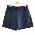 【MASTINA】異材質毛呢拼接短褲-藍...