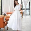 白色洋裝 雪紡洋裝顯瘦夏季長裙波西米亞中長款裙子圓領沙灘裙女 〖