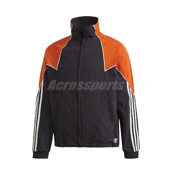 adidas 外套 Big Trefoil Abstract Track Top 黑 橘 男款 立領外套 運動休閒 【ACS】 GE0811