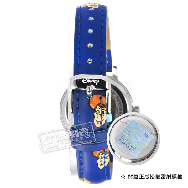 Disney 迪士尼 / MK-14130L1 / 玩具總動員 胡迪 巴斯光年 日本機芯 兒童錶 卡通錶 皮革手錶 白x深藍 32mm