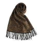 GINZA U新款時尚豹紋風織紋100%羊毛圍巾(駝色) 359999-52