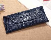 2018新款歐美真皮長款女士錢包鱷魚紋牛皮女式錢包錢夾手拿包潮