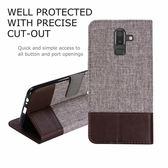 三星Galaxy J8 2018 十字紋拼色 牛皮布 掀蓋磁扣手機套 手機殼 皮夾手機套 側翻可立式 外磁扣皮套