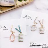 現貨 韓國氣質甜美幾何LOVE珍珠水鑽不對稱925銀針耳環 S93416 批發價 Danica 韓系飾品