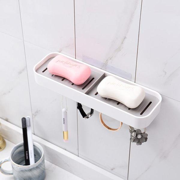 肥皂架 吸盤壁掛式肥皂盒雙層瀝水吸壁免打孔雙格香皂盒衛生間浴室置物架(交換禮物 創意)聖誕