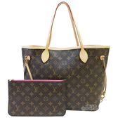 【Louis Vuitton 路易威登】M41178 NEVERFULL MM 經典花紋子母束口購物包(牡丹紅)