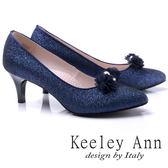 ★2017秋冬★Keeley Ann甜美新娘可拆式晶鑽花兒飾釦真皮軟墊中跟鞋(藍色) -Ann系列