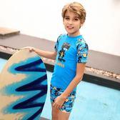 Blowind兒童泳衣男童防曬抗紫外線短袖卡通恐龍分體泳裝度假 js1183『科炫3C』