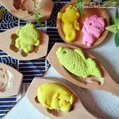 模具木質卡通豬模具綠豆糕點南瓜月餅干花樣饅頭壓花家用  LX曼莎時尚