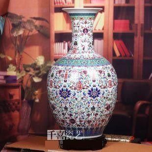 景德鎮陶瓷器粉彩大花瓶白色太陽花