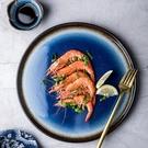 創意北歐盤子 藍色圓形平盤 家用陶瓷碟子菜盤西餐盤意面盤牛排盤 夏季狂歡