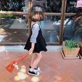 女童格子背帶裙洋氣假兩件連衣裙【奇趣小屋】