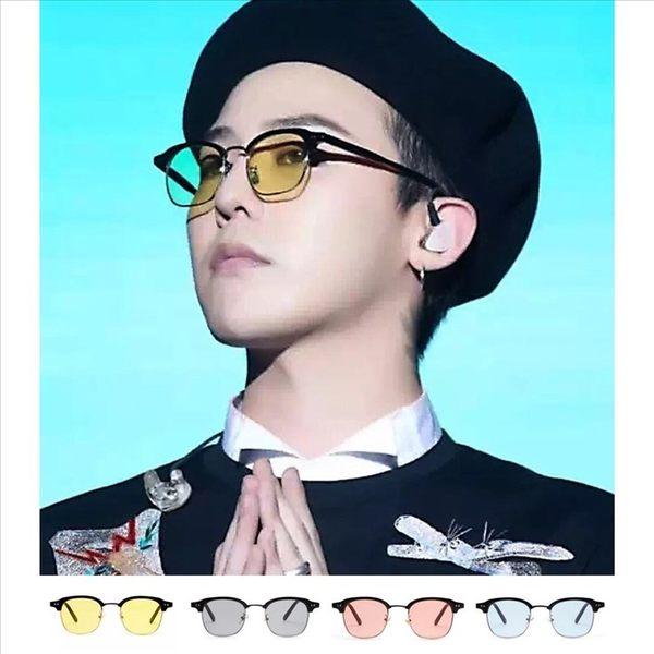 現貨-海洋片方框眼鏡韓版潮流太陽眼鏡😎韓風GD明星同款潮流個性半框眉框墨鏡‧混膠橢圓 214