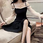 一字肩吊帶露肩連衣裙秋氣質夜場女裝性感新款超仙公主裙夜店-可卡衣櫃
