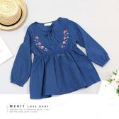 日系典雅花朵印花公主袖上衣(藍) 棉麻 蝴蝶結 薄款 長袖 澎澎袖 氣質 女孩 女童 童裝