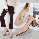 2018春季新款復古方頭高跟鞋粗跟淺口套腳單鞋韓版百搭工作ol女鞋  良品鋪子