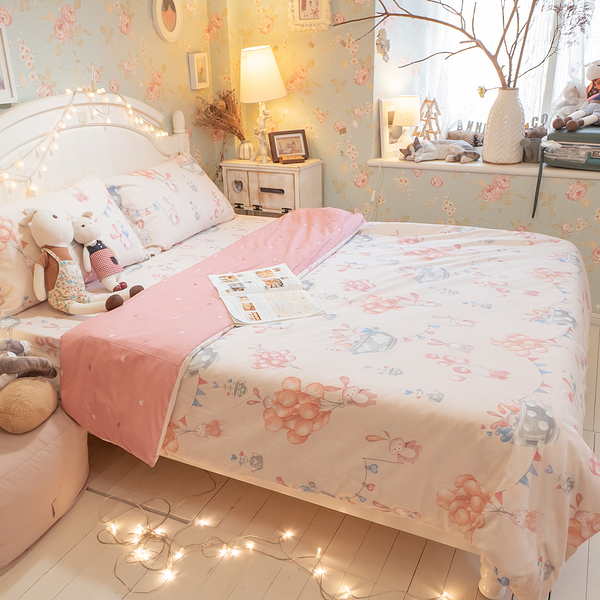 樂園氣球兔 D3雙人床包與雙人兩用被四件組 100%精梳棉 台灣製 棉床本舖