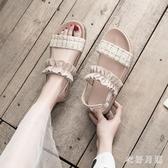 平底木耳邊厚底涼鞋 夏季仙女甜美風女2020百搭沙灘鞋羅馬鞋潮 BT23332【衣好月圓】