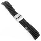 【台南 時代鐘錶 精選質感錶帶】橡膠按壓摺疊扣 黑色 18/20mm  附工具