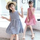 女童洋裝 女童連身裙夏裝兒童露肩背心格子裙子女孩正韓洋氣公主裙-Ballet朵朵