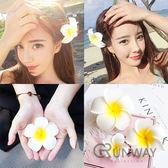 【R】韓版髮夾 海邊度假沙灘旅遊頭花頭飾雞蛋花 髮飾 伴娘 姐妹 手腕花
