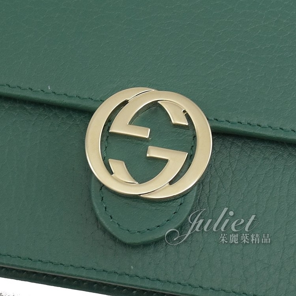 茱麗葉精品【全新現貨】GUCCI 615523 WOC 金屬雙G LOGO小牛皮三用鍊包.綠
