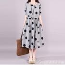 棉麻洋裝新款夏裝胖mm220斤圓點裙子短袖休閒大碼時尚收腰連身裙女潮 快速出貨