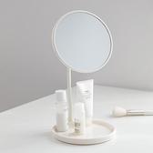 化妝鏡 留白北歐風臺式化梳妝臺鏡子學生宿舍大圓伸縮桌面美學文藝寢室 歐歐
