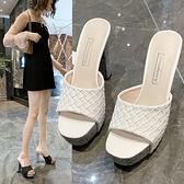 黑色高跟涼鞋 2021夏季新款坡跟拖鞋女厚底舒適防滑外穿鬆糕底魚嘴女涼拖鞋 百分百