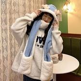 秋冬女保暖圍巾帽子一體連帽可愛圍脖韓版小熊毛絨護耳帽百搭冬季 伊蘿