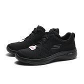 SKECHERS 休閒鞋 GO WALK ARCH FIT 全黑 灰黑LOGO 足弓款 女 (布魯克林) 124403BBK