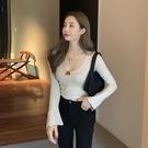 低胸上衣 低胸露臍修身顯瘦性感簡約打底T恤春裝新款韓版套頭百搭上衣女潮