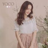 東京著衣【YOCO】YOCO-優雅唯美蕾絲圓領荷葉袖上衣-S.M.L(190278)