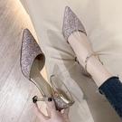 高跟鞋 網紅少女一字帶細跟高跟涼鞋女夏季韓版百搭尖頭女鞋時尚單鞋
