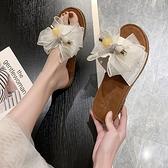 仙女拖鞋 軟底防滑外穿仙女風涼拖鞋2021新款夏季蝴蝶結平底時尚百搭沙灘鞋